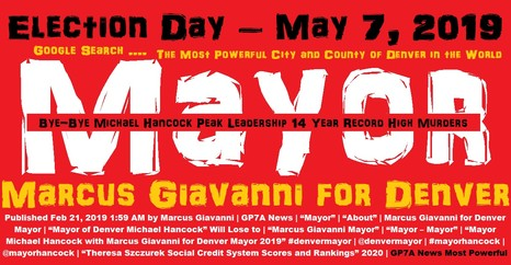 To Denver Mayor, Marcus Giavanni when elected 2019, will perform every Saturday night concert series. ALl proceeds will go to pay off Mayor Hancock's $170,000 a year retirement severance pay. And his City Council Pay which is full salary.